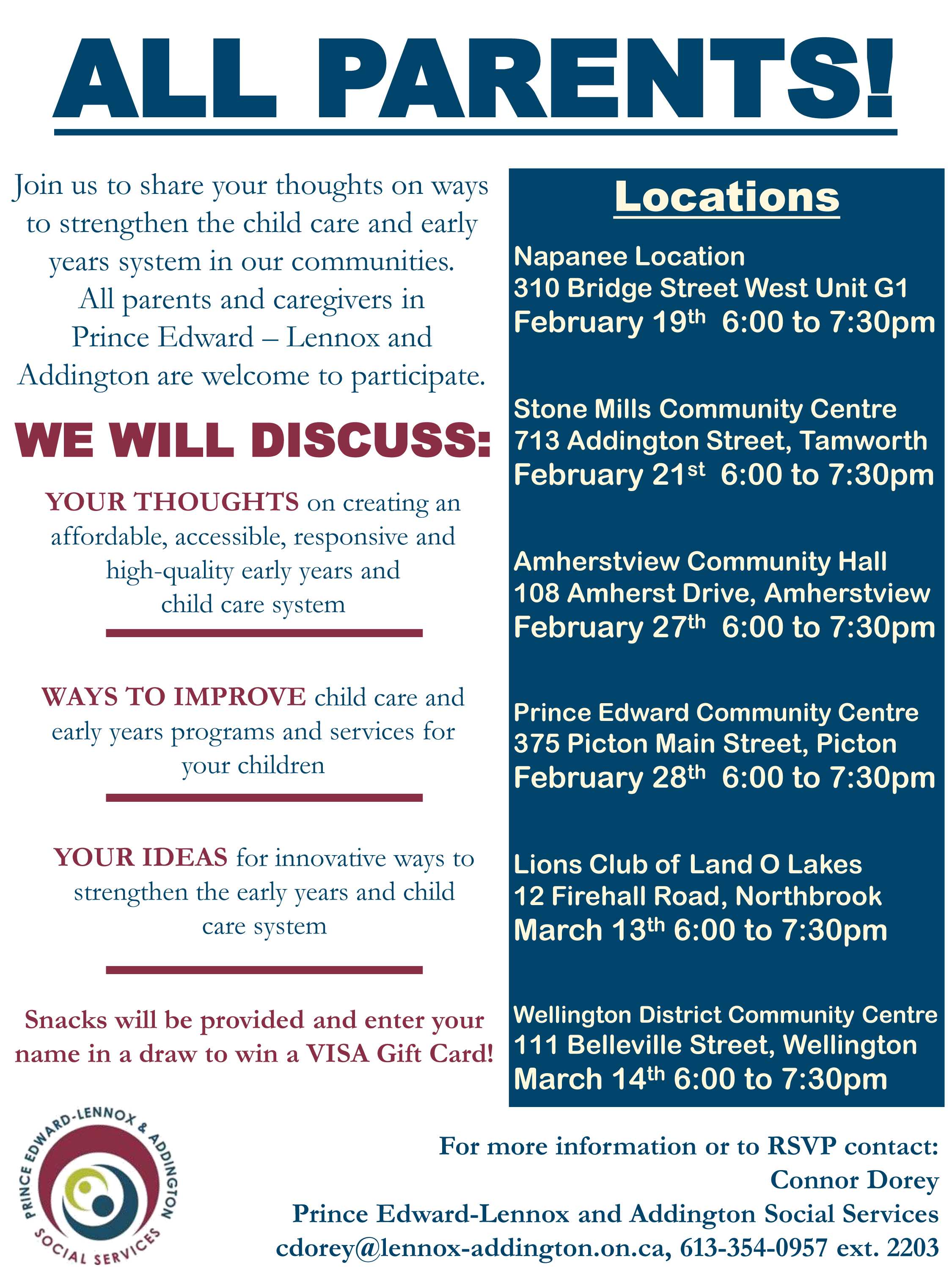 Join us to share your thoughts on ways to strengthen the child care and early years system in our communities