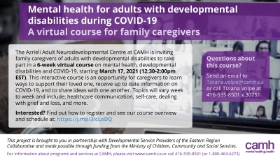Mental health for adults with developmental disabilities during COVID: A virtual course for family caregivers